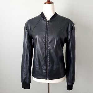 Guess Black Faux Leather Moto Jacket Size Small